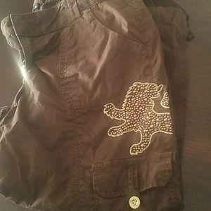 Express lion logo cropped cargo pant